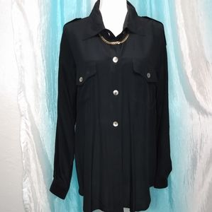 Carole Little silk black button down top